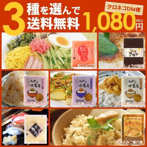 3種を選んでクロネコDM便送料無料1080円!うめぇ生姜(かつお風味・梅風味・しそ風味)生姜炊き込みご飯の素、しょうが味噌からお好きな3点お選び下さい