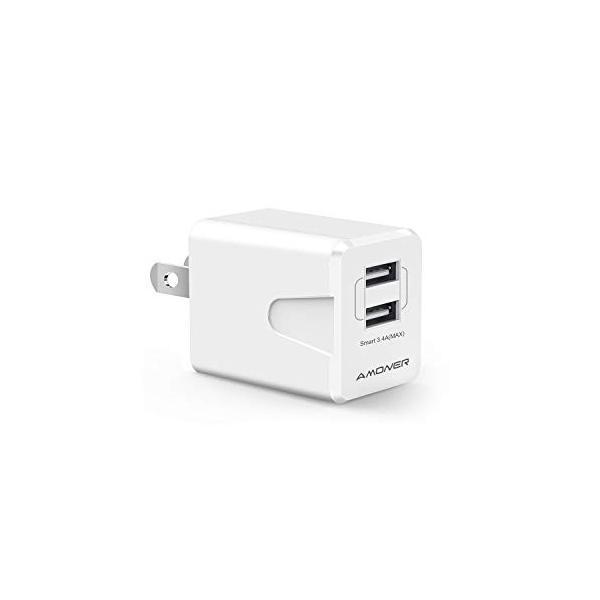 Amoner 2ポート USB 充電器 18W 折り畳み式プラグ スマホ急速充電 海外対応 ACアダプターiPhone/iPad/Android 各種対応|showin-shop