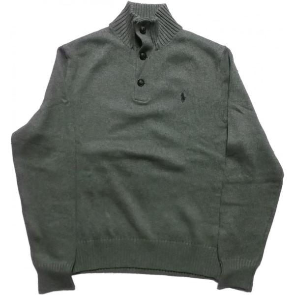 ポロ ラルフローレン ワンポイント コットンセーター ボタン付き グレイ メンズ Polo Ralph Lauren 060