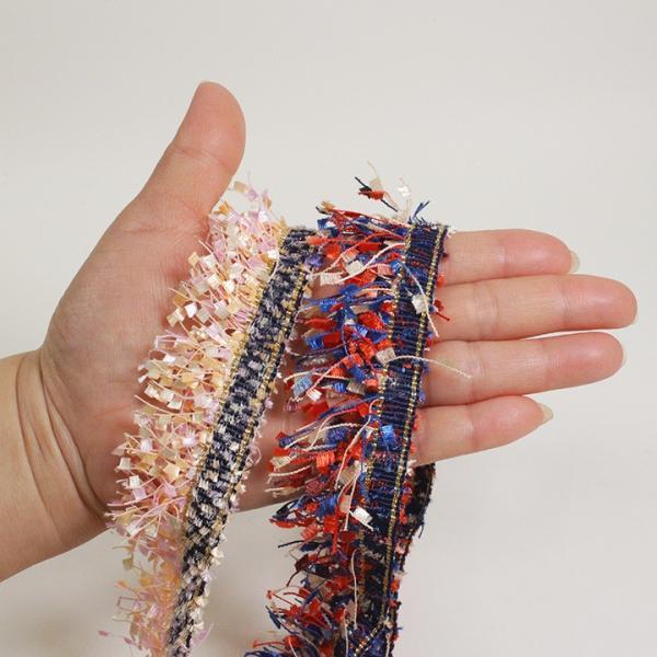 フリンジテープ 幅約3cm 1m入り D-1   リボン パーツ フリンジテープ 1mカット済み アクセサリー 縫い付け 服飾パーツ ハワイアンコード shugale1 02