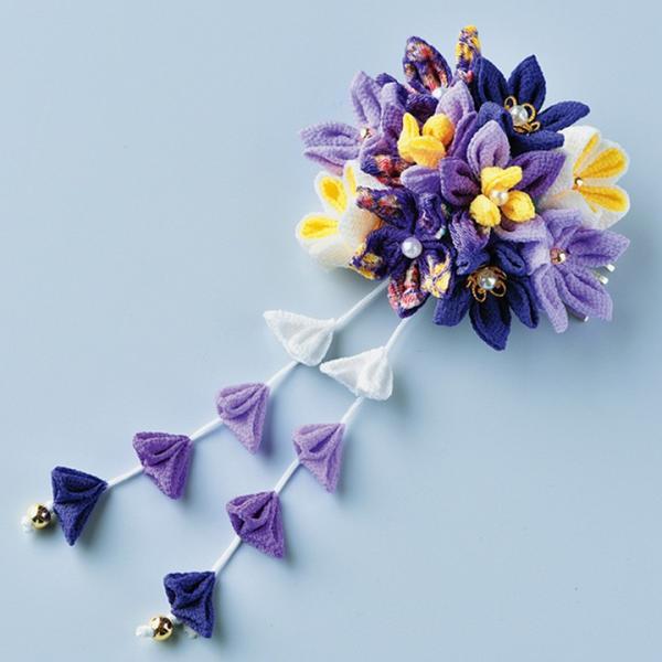 つまみ細工キット はなやぎ髪飾り 紫 | つまみ細工 七五三 成人式 ハンドメイド 和手芸 和柄|shugale1