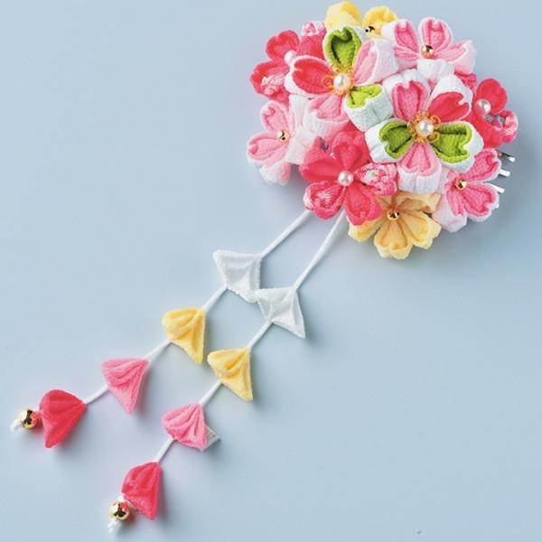 つまみ細工キット はなやぎ髪飾り ピンク | つまみ細工 七五三 成人式 ハンドメイド 和手芸 和柄|shugale1