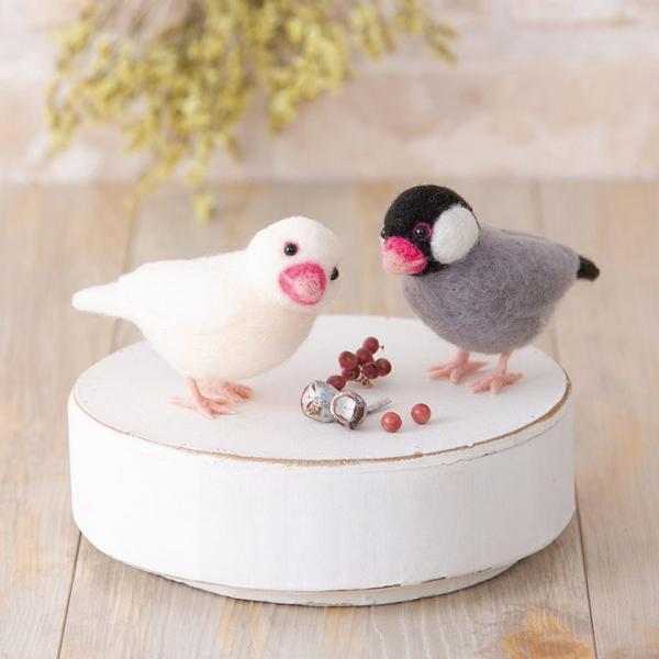 ハマナカ アクレーヌでつくるかわいい小鳥 桜文鳥と白文鳥 H441-526 | 手作り クラフト 手芸キット 羊毛フェルト フェルト フエルト マスコット|shugale1