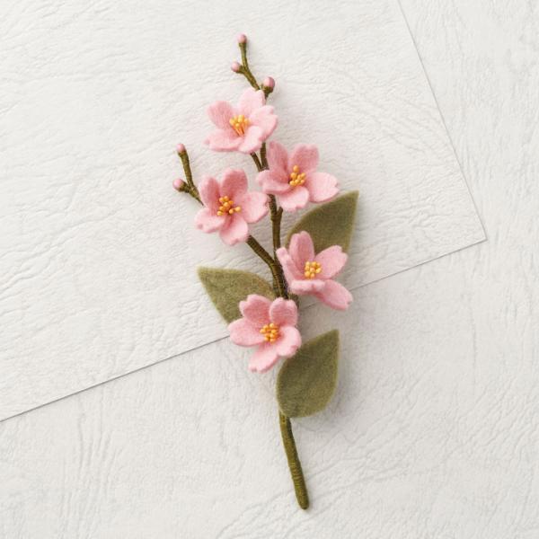 ピエニシエニ お花のコサージュ フェルトキット さくら POB-12 | フエルト キット フェルト アクセサリー サンフエルト フラワー ブローチ