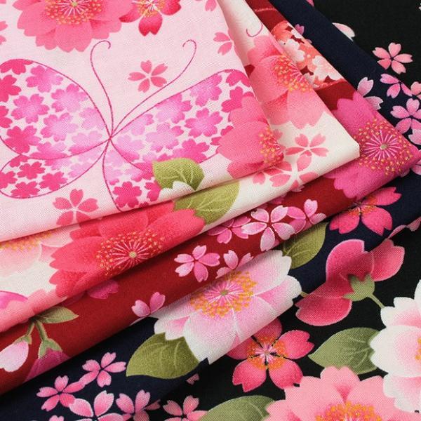 生地 綿布 花の詩 蝶 スケア SO-2070-1 |浴衣ドレス 甚平ドレス 女の子 ハンドメイド 生地 浴衣 子供|shugale1