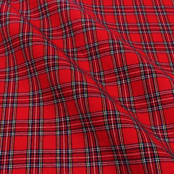 生地 綿布 ベーシックチェック先染 017-05 5A R|布 シンプル ベーシック タータン チェック柄 通園 通学 トーカイ