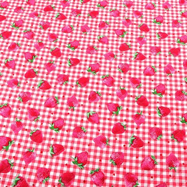 お気に入りシリーズ いちごギンガム オックスキルト (50cm単位)|切売り 布 布地 生地 キルト キルティング いちご チェック ピンク 女の子|shugale1|03