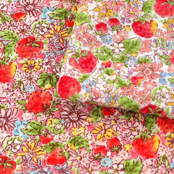 コットンこばやし いちご ポプリンリップル (1m単位)|切売り 生地 布 布地 綿 コットン 綿100 花柄 フラワー柄 フラワープリント いちご 浴衣 ゆかた|shugale1