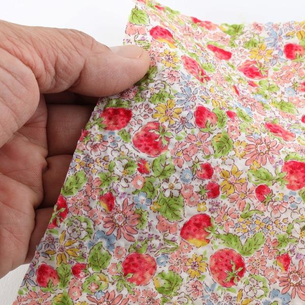 コットンこばやし いちご ポプリンリップル (1m単位)|切売り 生地 布 布地 綿 コットン 綿100 花柄 フラワー柄 フラワープリント いちご 浴衣 ゆかた|shugale1|05