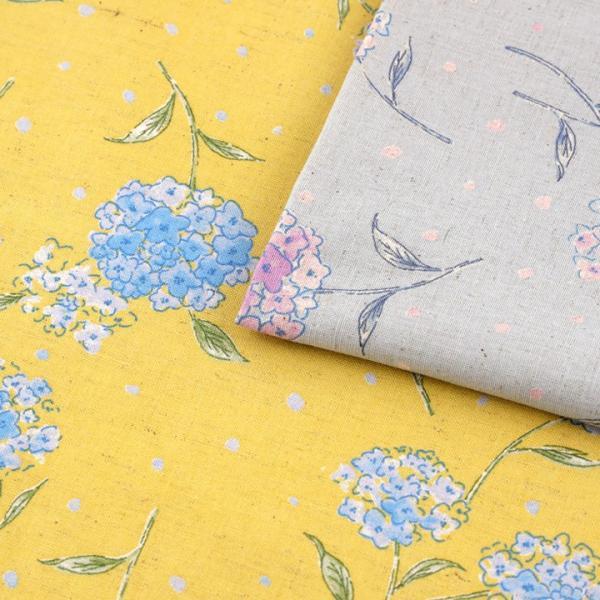 【当社限定】 mOmen-t florist アジサイ 綿麻シーチング (1m単位)|切売り 生地 布 布地 服地 花柄 フラワープリント トーカイ|shugale1