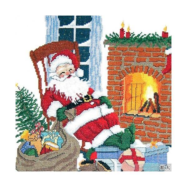 刺繍 輸入キット O O E  Santa relaxing fireplace|クリスマス|デンマーク|プレゼント|