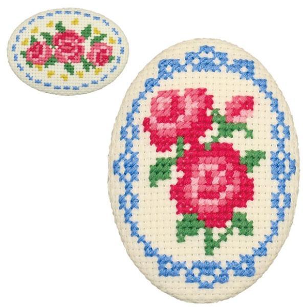 刺繍 キット オリムパス ちいさなクロス・ステッチ くるみボタン風ブローチ バラとレース