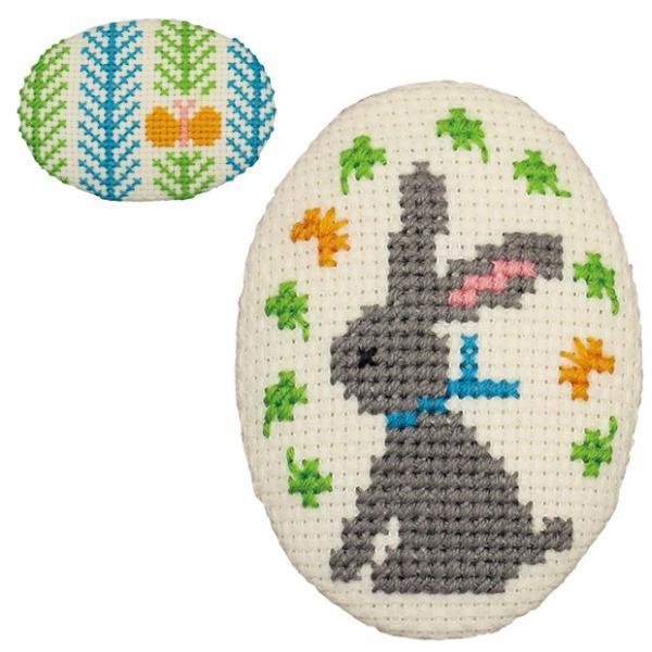 刺繍 キット オリムパス ちいさなクロス・ステッチ くるみボタン風ブローチ チョウチョとウサギ
