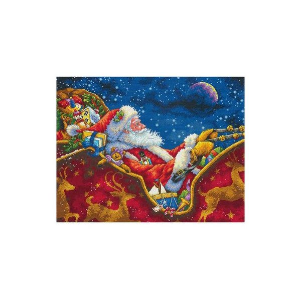 刺繍 Dimensions Santa's Midnight Ride|刺しゅうキット クロスステッチ GOLDCOLLECTION クリスマス|shugale1