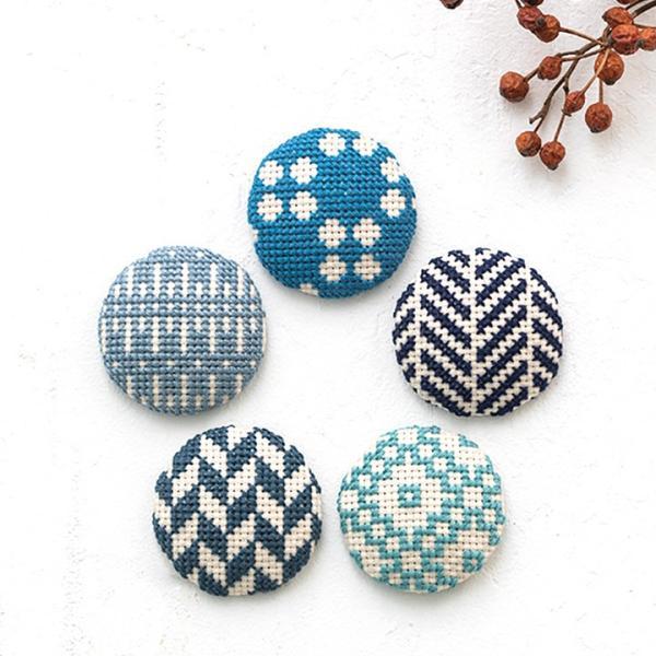 COSMO 包みボタン5個セット 青|くるみボタン 和模様 釦|shugale1