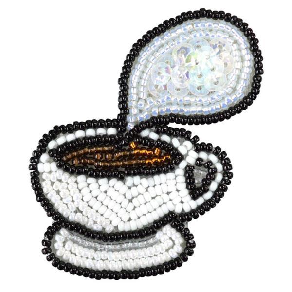 ビーズ刺しゅう ブローチキット ほっと コーヒー かわいい ブローチ MIYUKI shugale1