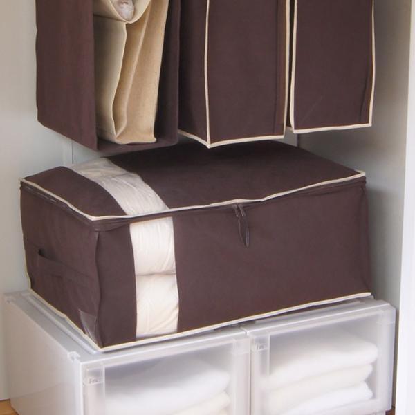布団 収納袋 布団収納ケース Wサイズの羽毛布団もすっきり収納 掛布団ケース ダブル(ブラウンは生産終了・完売)※ベージュは5/22以降の発送に。 shuno-su 04