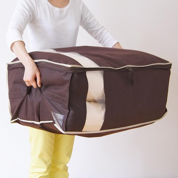 布団 収納袋 布団収納ケース Wサイズの羽毛布団もすっきり収納 掛布団ケース ダブル(ブラウンは生産終了・完売)※ベージュは5/22以降の発送に。 shuno-su 05