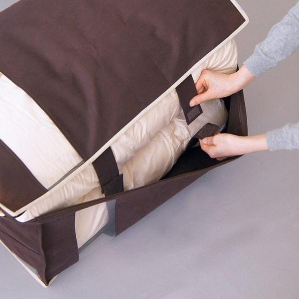 布団 収納袋 布団収納ケース Wサイズの羽毛布団もすっきり収納 掛布団ケース ダブル(ブラウンは生産終了・完売)※ベージュは5/22以降の発送に。 shuno-su 06