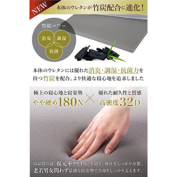 マットレス シングル 高反発 ノンスプリング 敷布団 腰痛対策 GOKUMIN 高品質32D 硬め180N 誕生日|shuterlife|05