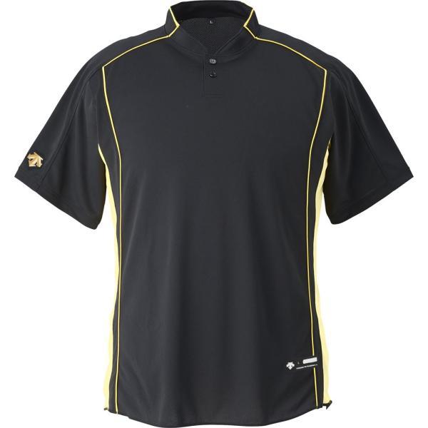 デサント DESCENTE  男女兼用 野球・ソフトボール用ウェア  立衿2ボタンベースボールシャツ DB109B ブラック