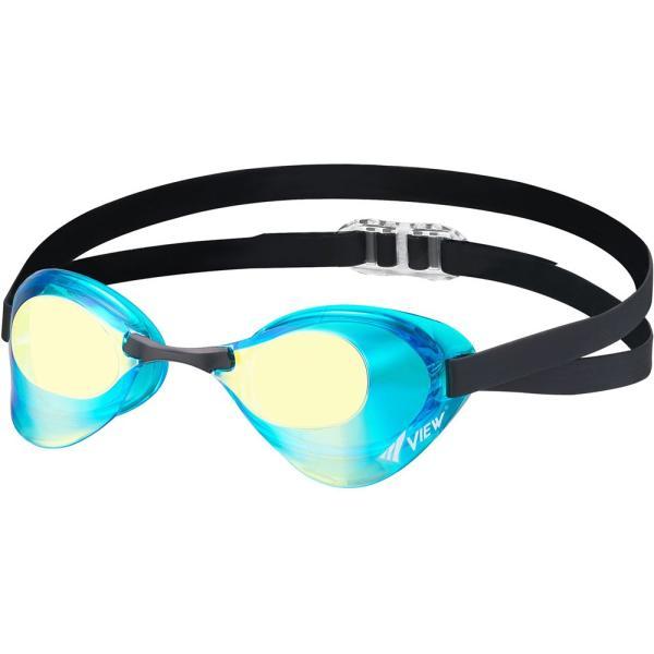 VIEW ビュー 水泳 競泳 スイミング 水球 ゴーグル サングラス Bladeミラー ゴーグル V121MR アクアマリンイエロ^