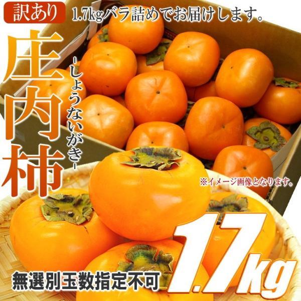 庄内柿 山形県産 1.7kg 無選別 2個購入で1.6kg増量 バラ詰め 訳あり ワケあり わけアリ|siasunet