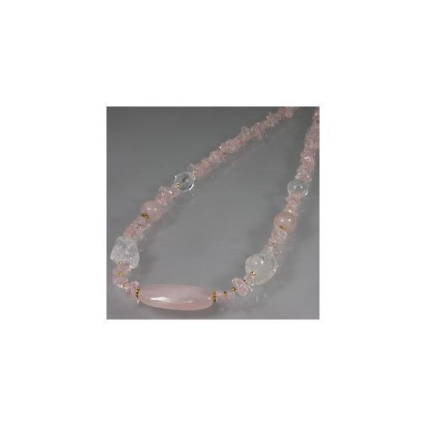 天然石 ネックレス 水晶&ローズクォーツ  08