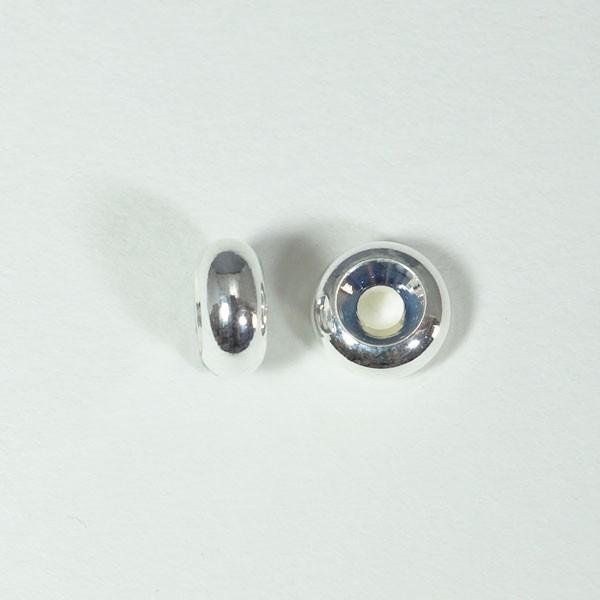 メタルパーツ スベーサー ドーナツホワイトシルバー7.5x4mm 5個 穴2mm