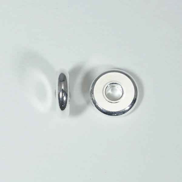 メタルパーツ スベーサー ドーナツホワイトシルバー10x2.5mm 5個 穴3mm