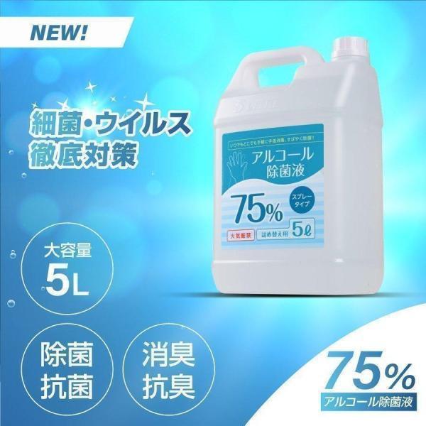 アルコール除菌 アルコール消毒液 アルコール75%  詰替え用 5000ml 業務用  大容量 除菌液 食品噴霧可 水なし ドアノブ 細菌   hd-5000ml