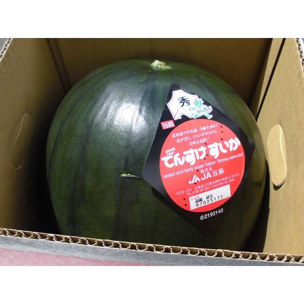 送料無料 でんすけスイカ(秀4L・9〜10Kg)×1玉 北海道当麻産・出荷時期:7〜8月