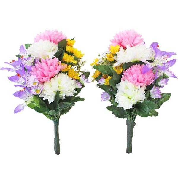 造花 仏花 可愛らしいエゾ菊とミニリリーの小花束一対 お仏壇 CT触媒 お盆 お供え
