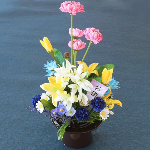 造花 仏花 ラウンドデージーとマムのミニアレンジ CT触媒 造花 シルクフラワー お彼岸 お盆 お仏壇 仏花 お墓 花 お供え