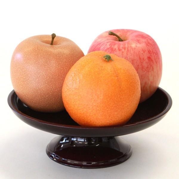 お盆 お供え 果物3点セット 器付き フルーツ 模型 フェイク サンプル りんご オレンジ 梨 ブドウ