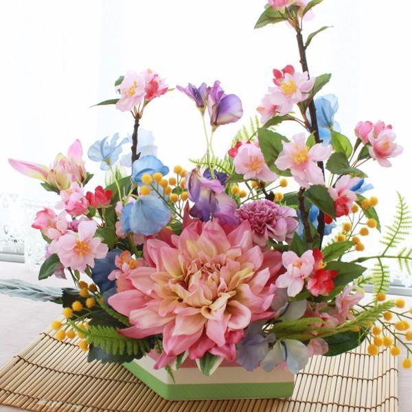 桜 造花 チェリーとスイートピーの春のアレンジ さくら 造花 シルクフラワー CT触媒