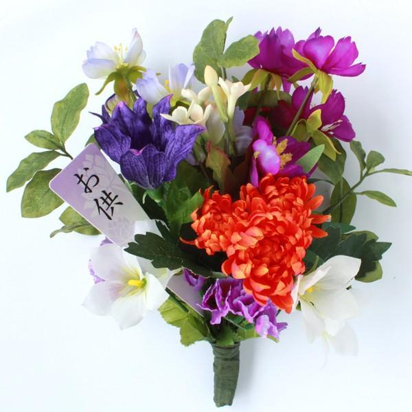 造花 仏花 コスモスや桔梗に菊の秋の小花束 お仏壇 お盆 お供え CT触媒 シルクフラワー