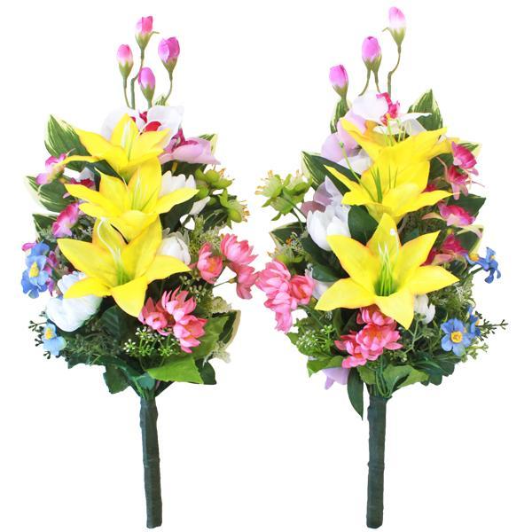 造花 仏花 胡蝶蘭とユリの花束一対 CT触媒 造花 シルクフラワー お彼岸 お盆 お仏壇 仏花 お墓 花 お供え