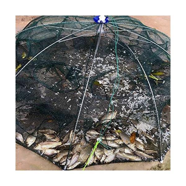 Agepoch 釣り用エビ籠 網カゴ 多角網 エビ カニ 小魚など 大漁捕獲網 サイズ五つ 四穴六穴十二穴十六穴二十穴 大型 軽量 折り畳み式コンパ