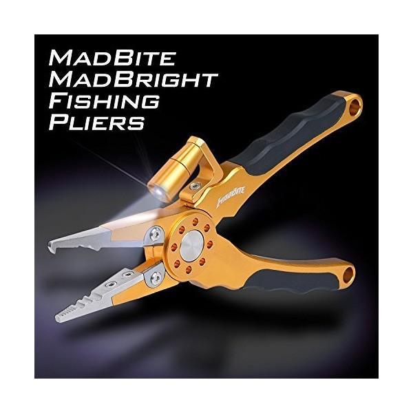 MadBite(マッドバイト)ライト付プライヤー 釣りペンチ ラインカッター フック外し (ゴールド)