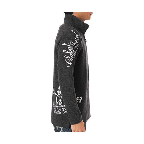 (ガッチャ ゴルフ) GOTCHA GOLF ポロシャツ 長袖 ニットライク ラグラン ハーフジップ シャツ 173GG1205 ブラック XLサイ|simpleplan|03