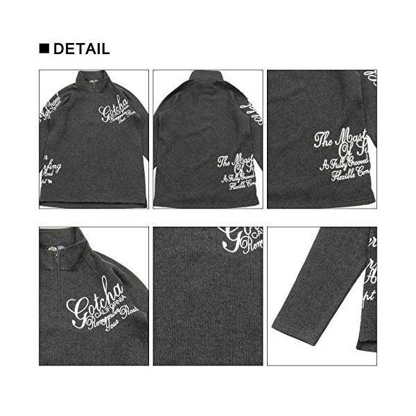(ガッチャ ゴルフ) GOTCHA GOLF ポロシャツ 長袖 ニットライク ラグラン ハーフジップ シャツ 173GG1205 ブラック XLサイ|simpleplan|05