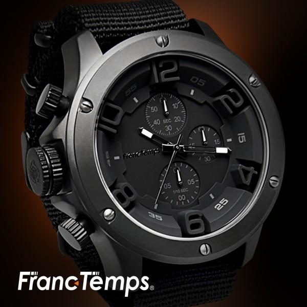 腕時計メンズ腕時計ブランドFrancTempsGAVARNIEフランテンプスガヴァルニクロノグラフビッグフェイスラバーベルトNA