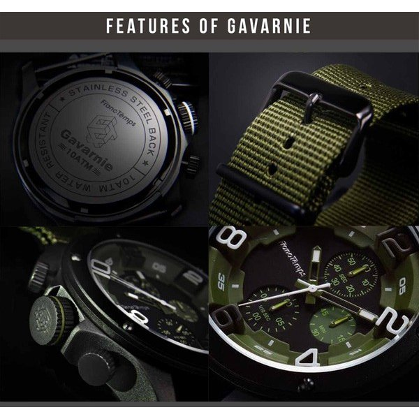 腕時計 メンズ腕時計 ブランド FrancTemps GAVARNIE フランテンプス ガヴァルニ クロノグラフ ビッグフェイス ラバーベルト NATOベルト おしゃれ|sincere-inc|08