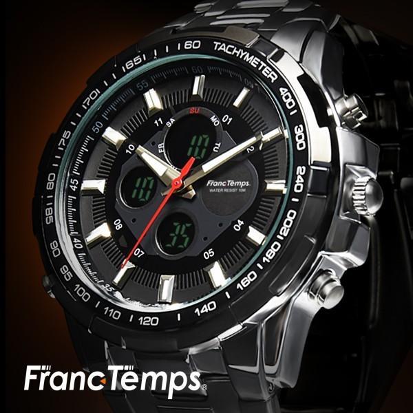 腕時計 メンズ ブランド タキメーター ビックフェイス ステンレス フランテンプス GRANDE グランデ 大きい FRANCTEMPS|sincere-inc