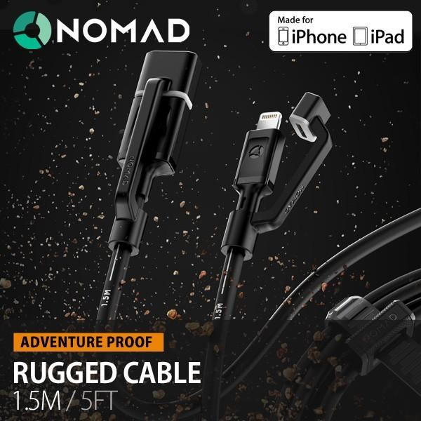 NOMAD RUGGED CABLE ノマド ラギッドケーブル 1.5m Lightningケーブル ライトニングケーブル MFi認定 iPhone iPad Mini iPad Touch メール便OK|sincere-inc