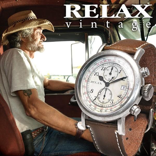 メンズ 腕時計 クロノグラフ RELAX vintage リラックスヴィンテージ 革ベルト|sincere-inc