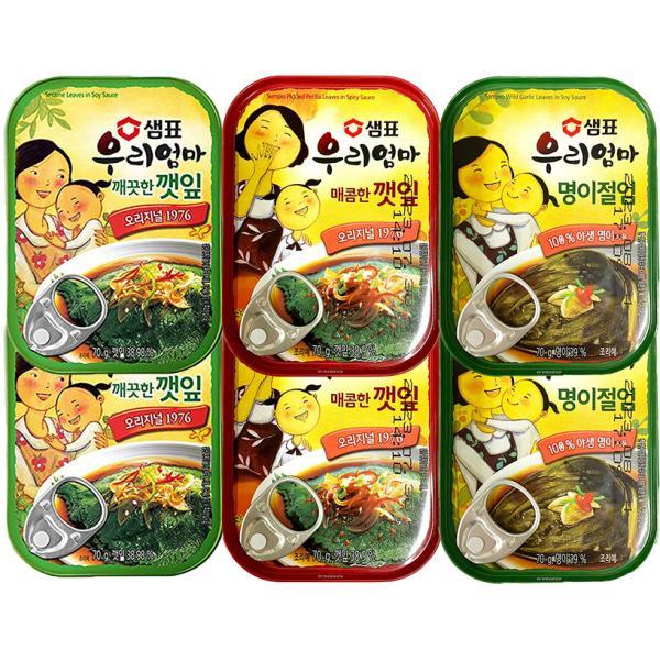センピョ「ミョンイナムル」ギョウジャニンニクの醤油漬け2缶+えごまキムチ〓油漬け2缶+辛口えごまキムチ〓油漬け2缶*6缶