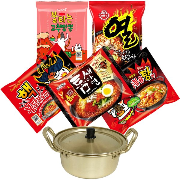 韓国辛口ラーメンセット+鍋(14cm)(燃えるちゃんぽん、熱ラーメン、核ブルダック、トムセラーメン、ブルダック炒め湯〓)