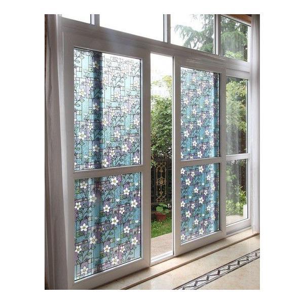 A のり不要 Ws 2003 フラワースクエア ステンドグラス ガラスフィルム 1メートル幅2種類 窓飾り